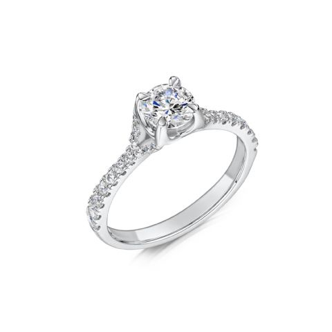 0.55 Carat GIA GVS Diamond solitaire 18ct White Gold Round Cross over Engagement Ring MWSS-1207/033